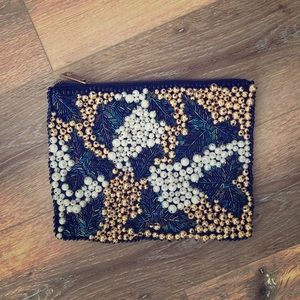 ASOS black leather beaded clutch